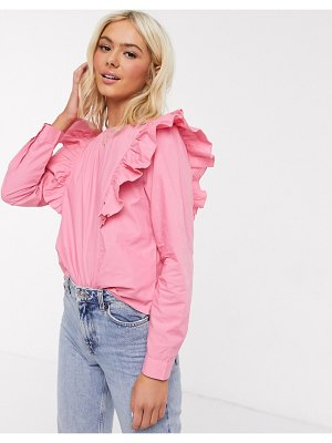 JDY ruffle cotton top in pink