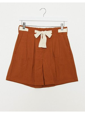JDY shorts with contrast tie detail in brown