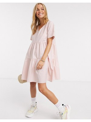 JDY smock dress with tiered skirt in pink