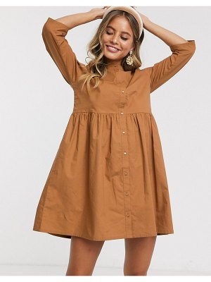 JDY smock shirt dress in rust-gold