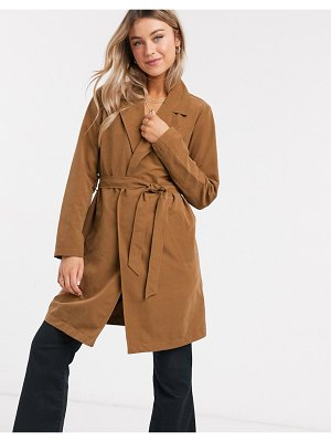 JDY wrap trench coat in brown