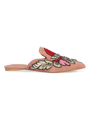 Jeffrey Campbell 10mm embroidered suede mules