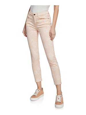 Jen7 Rose-Print High-Rise Ankle Skinny Jeans