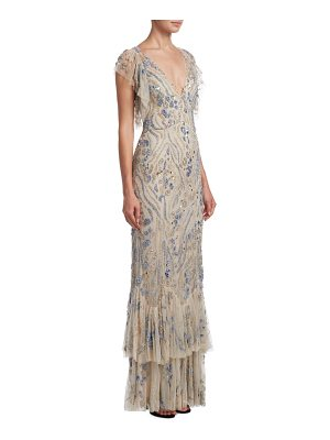 JENNY PACKHAM Beaded V-Neck Gown