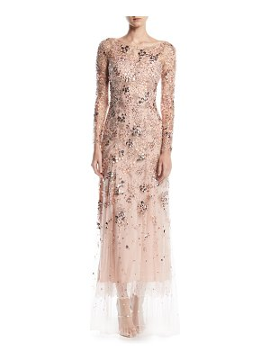 Jenny Packham Comet Bateau-Neck Long-Sleeve Beaded Evening Gown w/ Lace Trim