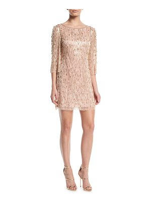 Jenny Packham Elbow-Sleeve Straight Beaded Mini Cocktail Dress