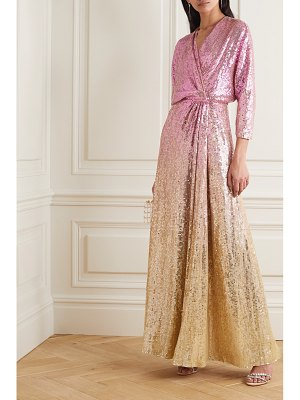 Jenny Packham gina ombré sequined chiffon wrap gown