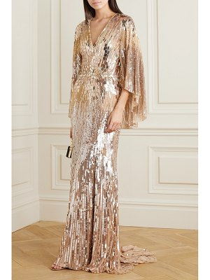Jenny Packham hennie cape-effect embellished tulle gown
