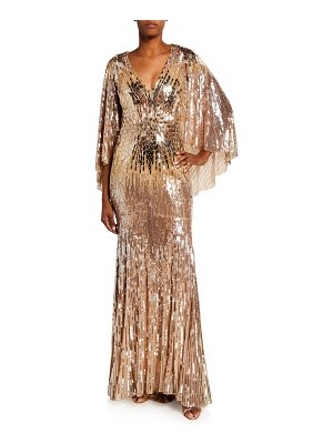 Jenny Packham Hennie Sequined Flutter-Sleeve Gown