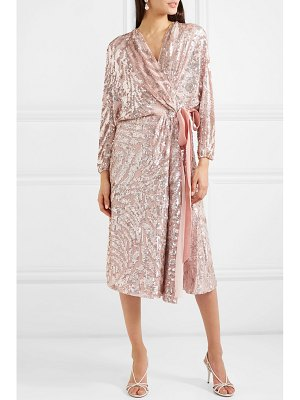 Jenny Packham lamour velvet-trimmed sequined chiffon wrap dress