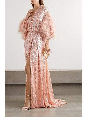 Jenny Packham paradise feather-trimmed sequined georgette gown