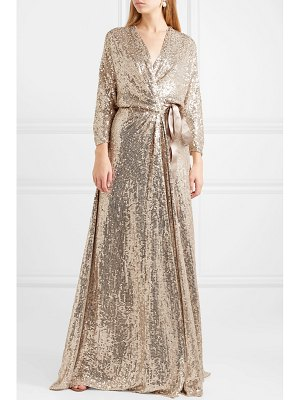 Jenny Packham satin-trimmed sequined silk wrap gown