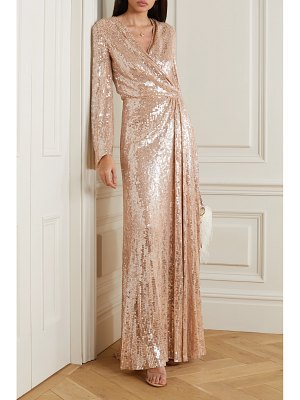Jenny Packham scarlett sequined chiffon wrap gown