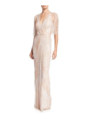 Jenny Packham Sequined Tulle Crossover Column Gown