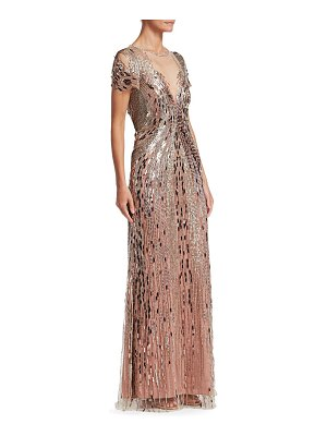 Jenny Packham short sleeve illusion bead gown