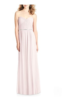 Jenny Packham Bridesmaids Strapless Sweetheart Lux Chiffon Gown Bridesmaid Dress w/ Pleated Bodice