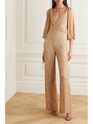 Jenny Packham teodora cold-shoulder embellished chiffon jumpsuit