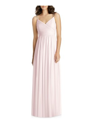 Jenny Packham V-Neck Beaded-Strap Lux Chiffon Ruched Bodice Bridesmaid Gown