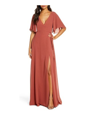 Jenny Yoo ari flutter sleeve faux wrap evening gown