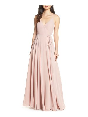 Jenny Yoo james sleeveless wrap chiffon evening dress