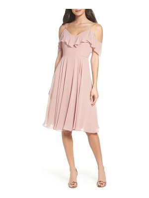 JENNY YOO Kelli Cold Shoulder Chiffon Dress