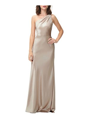 JENNY YOO Lena One-Shoulder Crepe Back Satin Gown