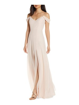 Jenny Yoo priya cold shoulder chiffon evening dress