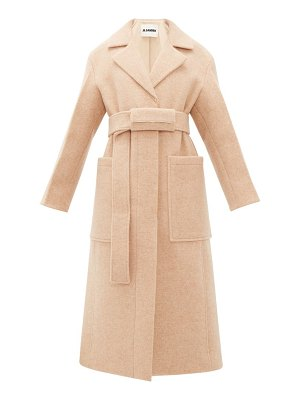 Jil Sander belted single breasted wool coat