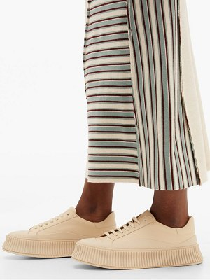 Jil Sander platform corrugated sole leather trainers
