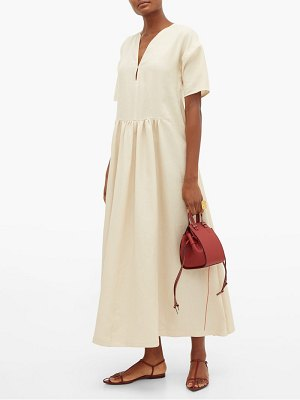 Jil Sander side-stripe v-neck linen dress