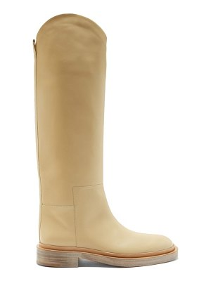 Jil Sander slanted-cuff leather knee-high boots