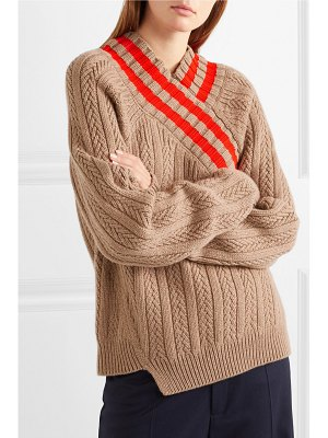 Jil Sander striped cable-knit wool-blend sweater