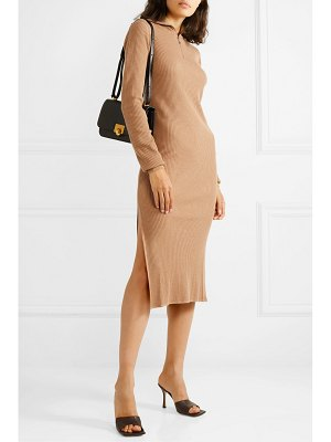 Jil Sander zip-detailed ribbed wool turtleneck dress
