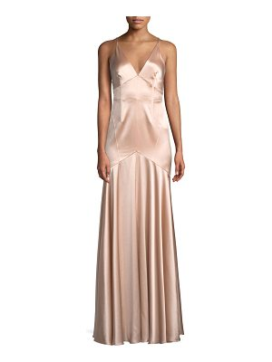 JILL JILL STUART Satin V-Neck Sleeveless Corset Gown