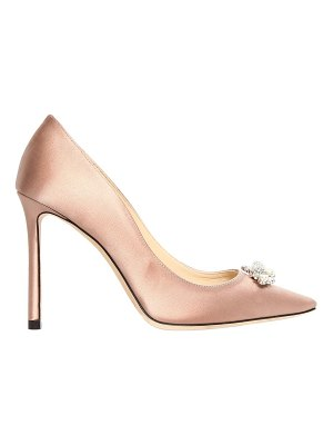 Jimmy Choo 100mm alexa jeweled silk satin pumps