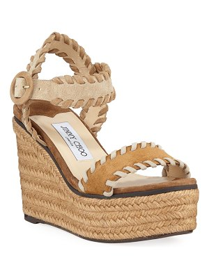 Jimmy Choo Abigail Whipstitched Platform Espadrilles