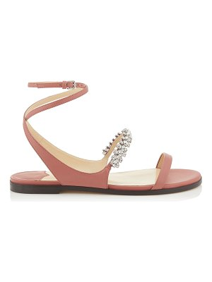 Jimmy Choo ABIRA FLAT Rosewood Nappa Leather Sandal with Crystal Detailing