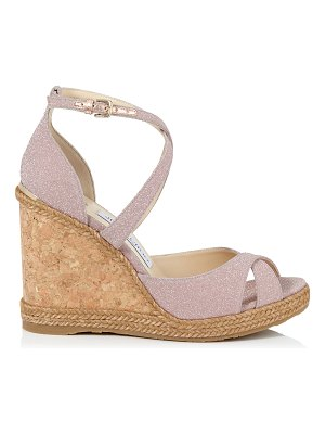 Jimmy Choo ALANAH 105 Ballet Pink Fine Glitter Fabric Wedges with Braid Trim Wedge