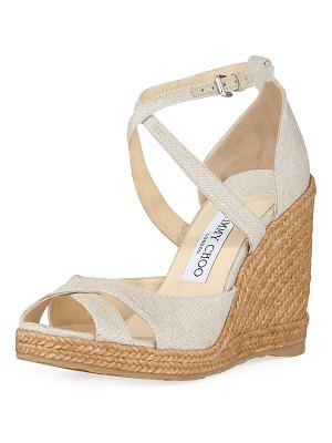 Jimmy Choo Alanah 105mm Linen Wedge Espadrilles
