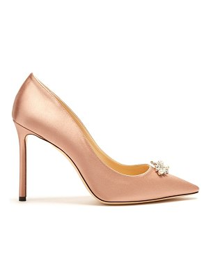 Jimmy Choo Alexa 100mm crystal-embellished satin pumps