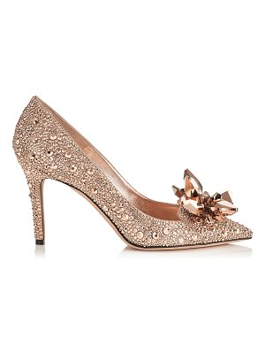 Jimmy Choo ALIA Rose Gold Crystal Covered Pointy Toe Pumps
