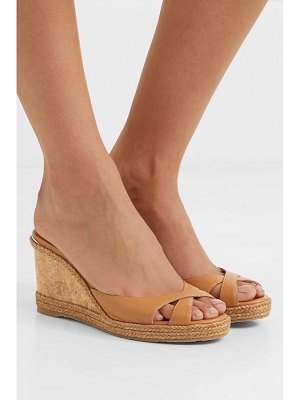Jimmy Choo almer 80 leather and raffia wedge sandals