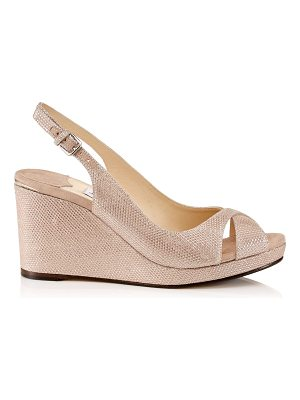 Jimmy Choo AMELY 80 Ballet Pink Glitter Mesh on Suede Slingback Wedges