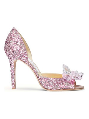 Jimmy Choo ANILLA 100 Rose Mix Suede and Crystal Covered Open Toe Pumps