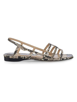 Jimmy Choo arien flat snakeskin-embossed leather sandals