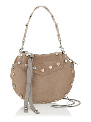 Jimmy Choo ARTIE MINI Light Mocha Suede Shoulder Bag with Stone Effect Studs