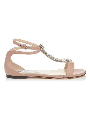 Jimmy Choo AVERIE FLAT Ballet Pink Nappa Leather Sandals with Silver Crystal Piece