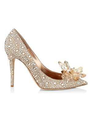 JIMMY CHOO Avril Golden Crystal Covered Pointy Toe Pumps