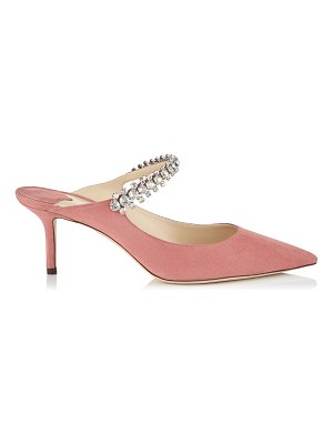 Jimmy Choo BING 65 Rosewood Suede Mules with Crystal Strap