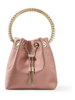 Jimmy Choo BON BON Blush Satin Bag with Crystal-Embellished Metal Handle